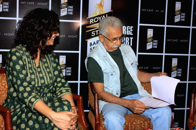 Actors Naseeruddin Shah and Shernaz Patel during a media interaction and screening of short film, Interior Cafe - Night, in Mumbai on July 18, 2016. - Naseeruddin Shah and Shernaz Patel