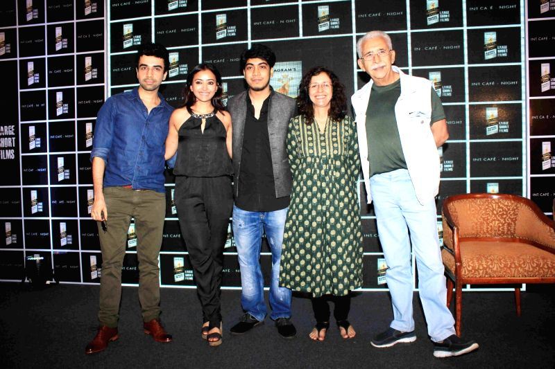 Actors Naveen Kasturia, Shweta Prasad, Naseeruddin Shah, Shernaz Patel and short filmmaker and writer Adhiraj Bose during a media interaction and screening of short film, Interior Cafe - ... - Naveen Kasturia, Shweta Prasad, Naseeruddin Shah, Shernaz Patel and Adhiraj Bose