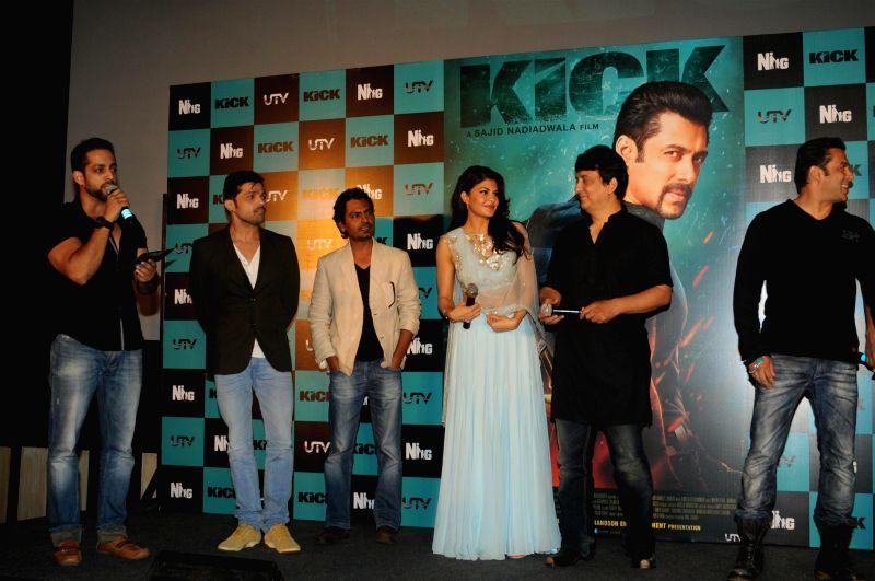 Actors Nawazuddin Siddiqui, Jacqueline Fernandez, filmmaker Sajid Nadiadwala and actor Salman Khan during the trailer launch of the film Kick in Mumbai on June 15, 2014. - Salman Khan, Nawazuddin Siddiqui and Jacqueline Fernandez