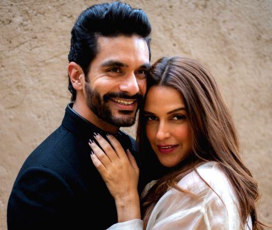 Actors Neha Dhupia and Angad Bedi.