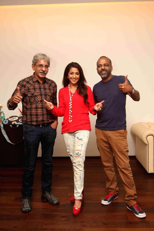 Actors Neil Bhoopalam, Anushka Sharma and Darshan Kumar during a media interaction of film NH10 in Mumbai on March 16, 2015. - Neil Bhoopalam, Anushka Sharma and Darshan Kumar