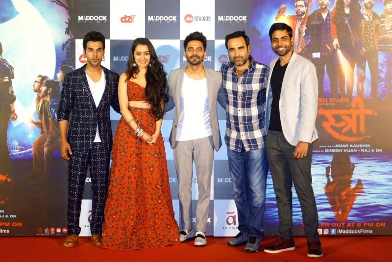 "Actors Pankaj Tripathi, Shraddha Kapoor, Rajkummar Rao and Aparshakti Khurrana at the trailer launch of their upcoming film ""Stree"" in Mumbai on July 26, 2018. - Pankaj Tripathi, Shraddha Kapoor, Rajkummar Rao and Aparshakti Khurrana"