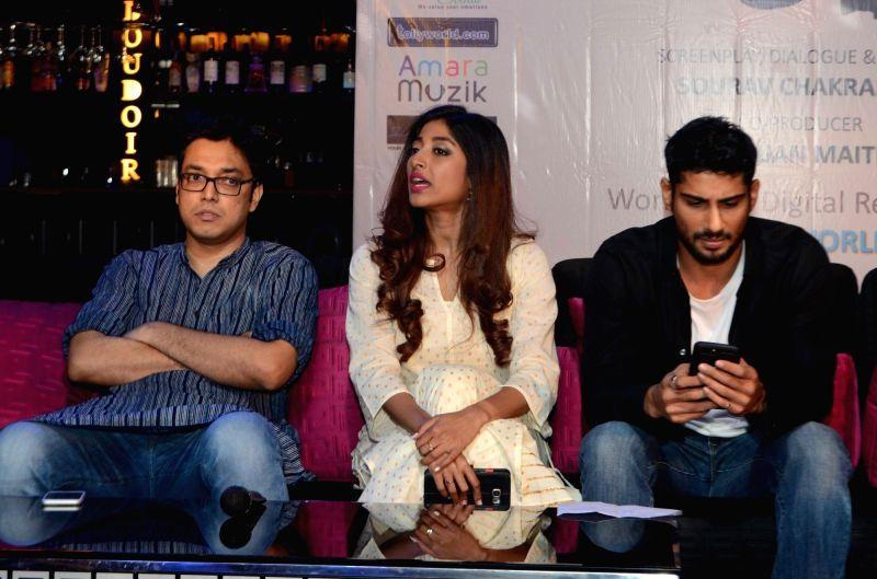 Actors Paoli Dam, Prateik Babbar and singer Anupam Roy during the trailer launch of the film 'Aroni Tokhon' in Kolkata on May 20, 2017. - Paoli Dam, Prateik Babbar and Anupam Roy