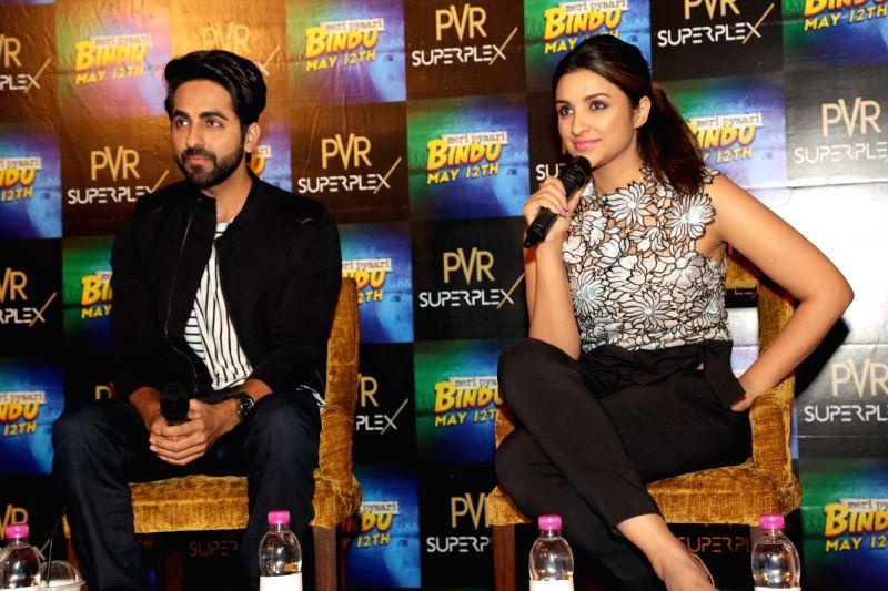 "Actors Parineeti Chopra and Ayushman Khuranna during a press conference organised to promote their upcoming film ""Meri Pyaari Bindu"" in Noida, on May 10, 2017. - Parineeti Chopra and Ayushman Khuranna"