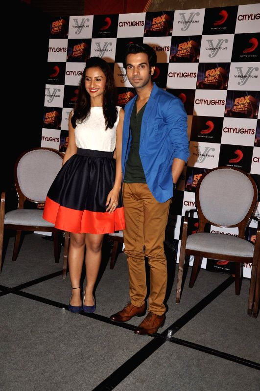 Actors Patralekha and Rajkumar Rao during the footage screening of film Citylights in Mumbai, on May 5, 2014. - Patralekha and Rajkumar Rao