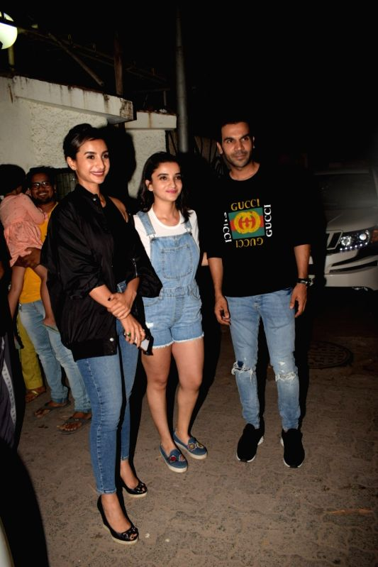 "Actors Patralekha and Rajkummar Rao arrive at the screening of the film ""Bhavesh Joshi Superhero"" in Mumbai on May 31, 2018. - Patralekha, Rajkummar Rao and Bhavesh Joshi Superhero"
