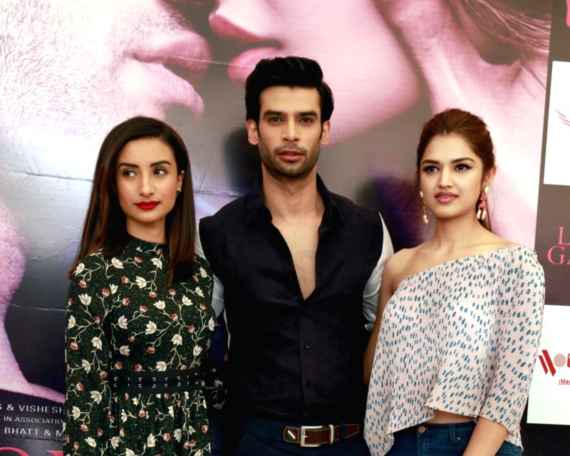 "Actors Patralekha, Gaurav Arora, Tara Alisha Berry during a press conference to promote their upcoming film ""Love Games"" in New Delhi on April 5, 2016. - Patralekha, Gaurav Arora and Tara Alisha Berry"