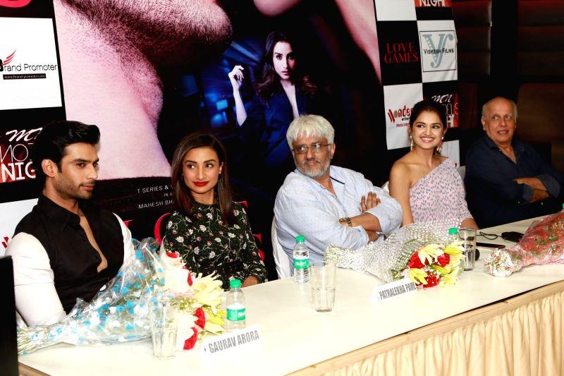 "Actors Patralekha, Gaurav Arora, Tara Alisha Berry with directors Mahesh Bhatt and Vikram Bhatt during a press conference to promote their upcoming film ""Love Games"" in New Delhi ... - Patralekha, Gaurav Arora and Tara Alisha Berry"