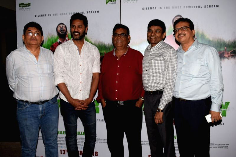 "Actors Prabhudheva, Satish Kaushik and producer Jayantilal Gada at the special screening of film ""Mercury"" in Mumbai on April 12, 2018. - Prabhudheva and Satish Kaushik"