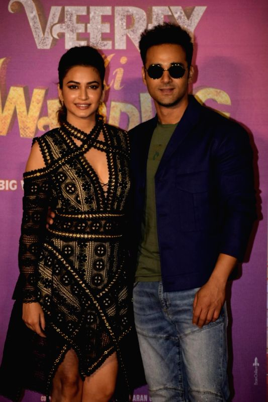 "Actors Pulkit Samrat and Kriti Kharbanda at the trailer launch of their upcoming film ""Veerey Ki Weeding"" in Mumbai on Feb 1, 2018. - Pulkit Samrat and Kriti Kharbanda"