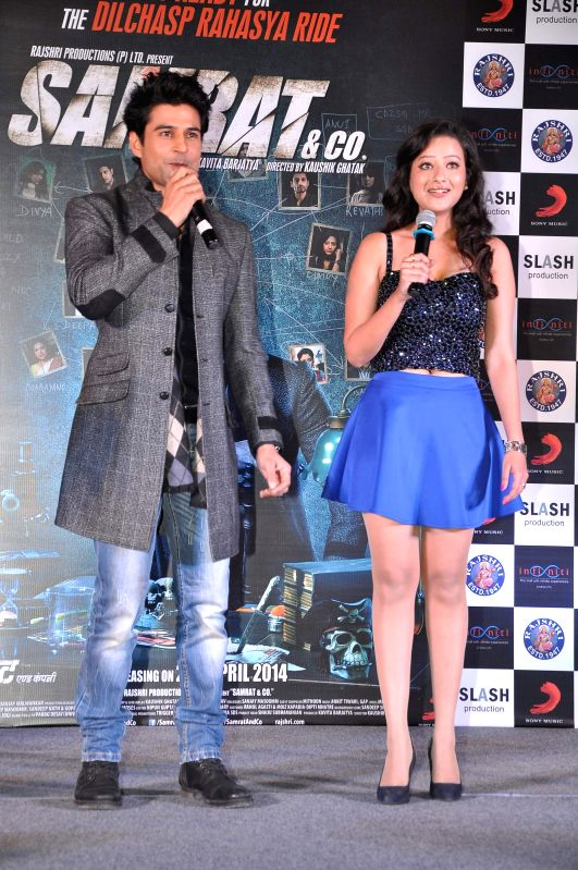 Actors Rajeev Khandelwal and Madalasa Sharma during the music launch of film Samrat & Co in Mumbai on April 11, 2014. - Rajeev Khandelwal and Madalasa Sharma