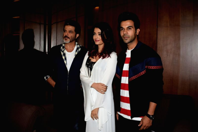 "Actors Rajkummar Rao, Aishwarya Rai Bachchan and Anil Kapoor during a media interaction to promote their upcoming film ""Fanney Khan"" in Mumbai on July 31, 2018. - Rajkummar Rao, Aishwarya Rai Bachchan, Anil Kapoor and Fanney Khan"