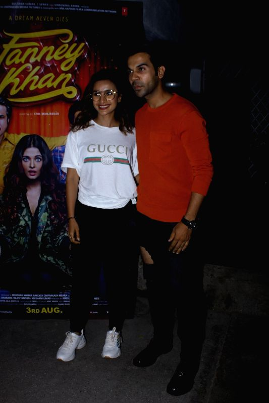 "Actors Rajkummar Rao and Patralekha at the special screening of upcoming film ""Fanney Khan"", in Mumbai on Aug 1, 2018. - Rajkummar Rao, Patralekha and Fanney Khan"