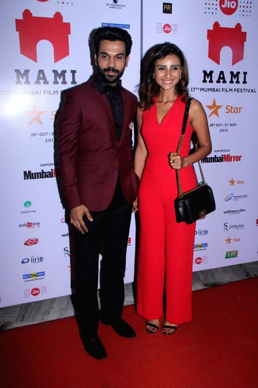 Actors Rajkummar Rao and Patralekha during the premiere of film Aligarh at Jio MAMI 17th Mumbai Film Festival in Mumbai, on Oct 30, 2015. - Rajkummar Rao and Patralekha