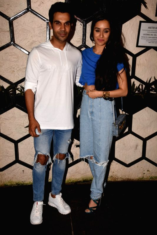 Actors Rajkummar Rao and Shraddha Kapoor at the producer Dinesh Vijan birthday celebration in Mumbai on July 26, 2018. - Rajkummar Rao and Shraddha Kapoor