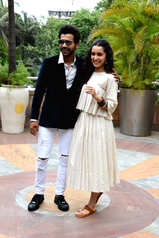 "Actors Rajkummar Rao and Shraddha Kapoor at the promotion of their upcoming film ""Stree"" in Mumbai on Aug 7, 2018. - Rajkummar Rao and Shraddha Kapoor"