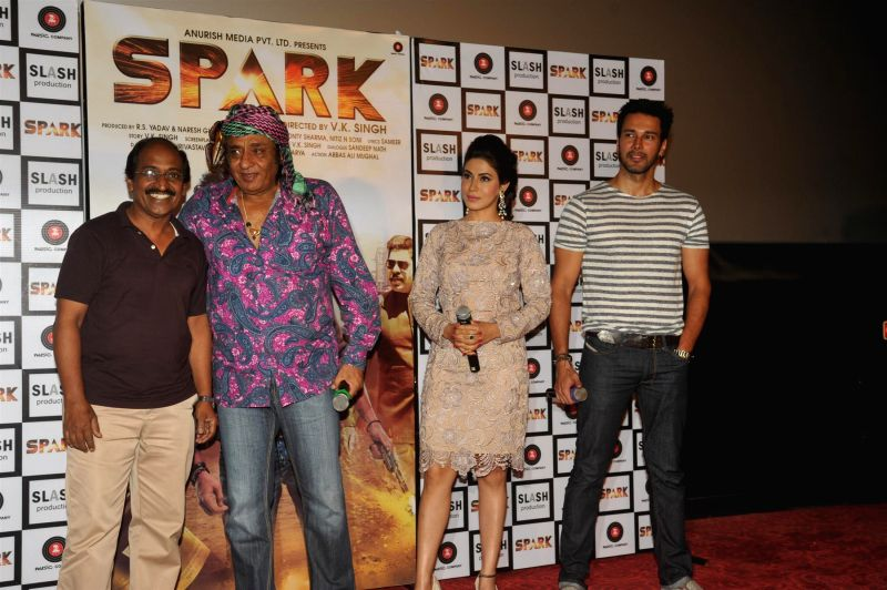 Actors Rajneesh Duggal, Mansha Bahl and Ranjeet during the trailer launch of film Spark in Mumbai on July 21, 2014. - Rajneesh Duggal, Mansha Bahl and Ranjeet