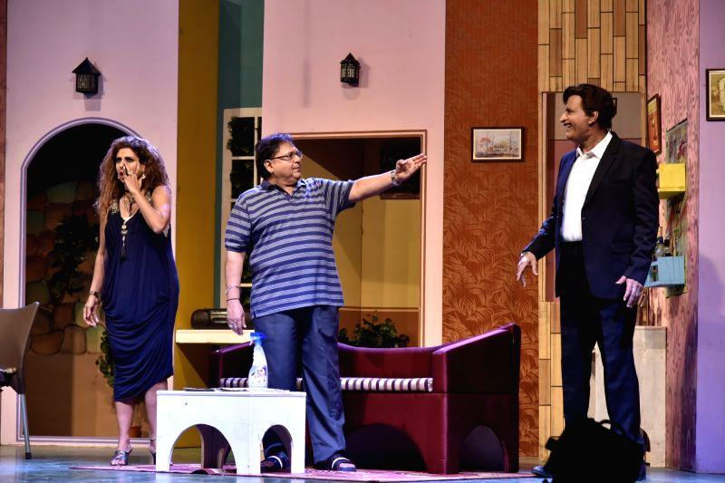 Actors Rakesh Bedi, Tanaaz Irani and Avtar Gill perform at the premiere of comedy play 'Wrong Number', in Mumbai on June 3, 2018. - Rakesh Bedi, Tanaaz Irani and Avtar Gill