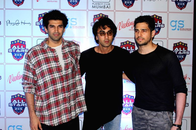 Actors Ranbir Kapoor, Abhishek Bachchan, Arjun Kapoor, Sidharth Malhotra during the celebrity football initiative `Playing for Humanity`in Mumbai on May 27, 2017. - Ranbir Kapoor, Abhishek Bachchan, Arjun Kapoor and Sidharth Malhotra