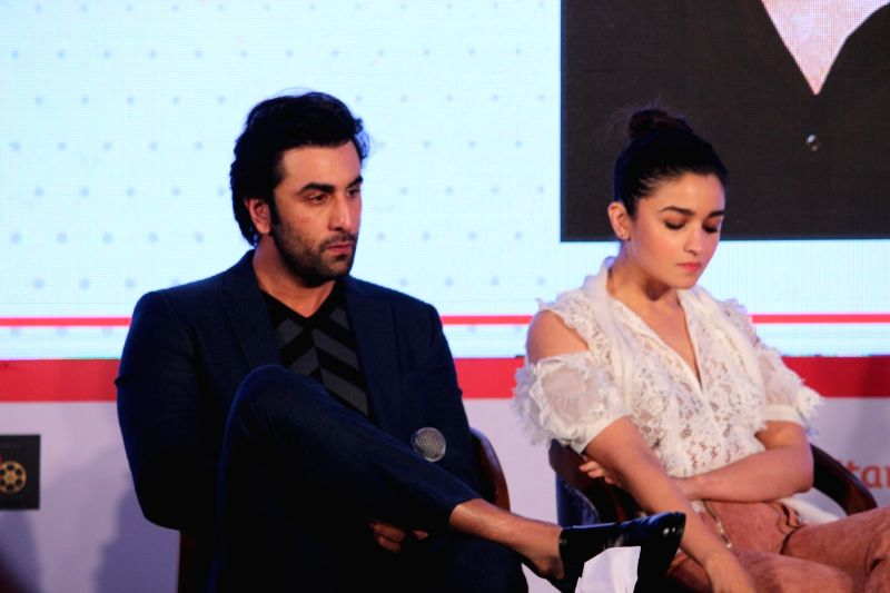 "Actors Ranbir Kapoor and Alia Bhatt at ""Jio Mami Film Mela"" in Mumbai on Oct 7, 2017. - Ranbir Kapoor and Alia Bhatt"