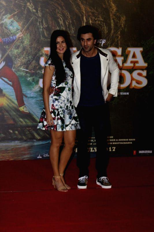 """Actors Ranbir Kapoor and Katrina Kaif during the song launch of their upcoming film """"Jagga Jasoos"""" in Mumbai on June 9, 2017. - Ranbir Kapoor and Katrina Kaif"""