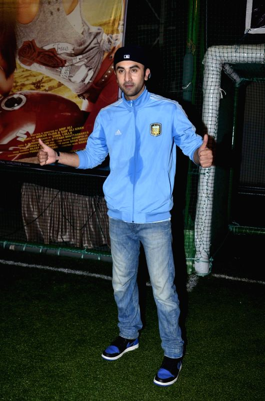 Actors Ranbir Kapoor during the football match organised to promote the upcoming film Lekar Hum Deewana Dil in Mumbai on June 17th, 2014. - Ranbir Kapoor