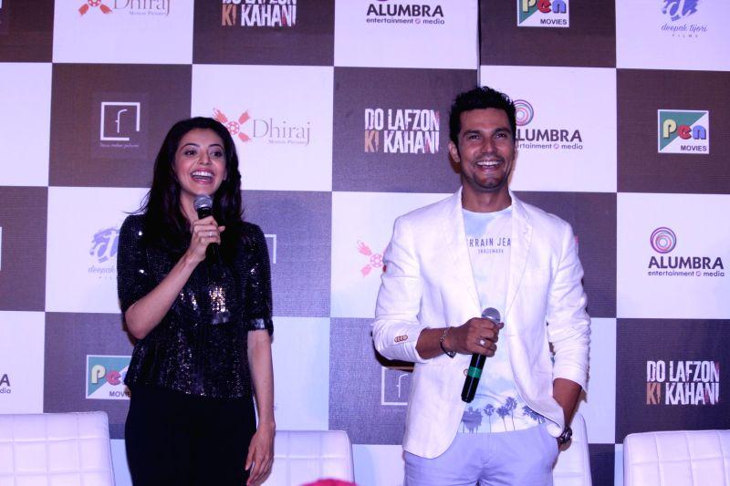 Actors Randeep Hooda and Kajal Aggarwal during the trailer launch of film Do Lafzon ki Kahani, in Mumbai, on June 2, 2016. - Randeep Hooda and Kajal Aggarwal