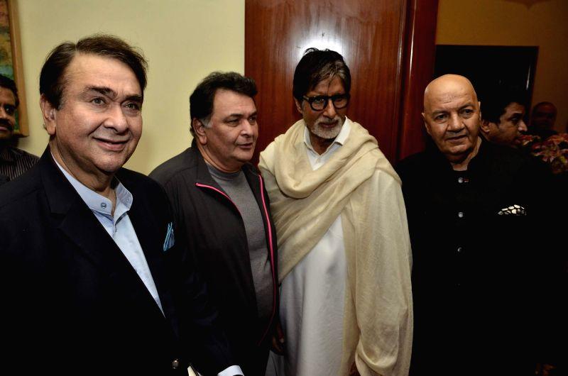 Actors Randhir Kapoor, Rishi Kapoor, Amitabh Bachchan and Prem Chopra during the launch of Prem Chopra's autobiography, Prem Naam Hai Mera.. Prem Chopra, written by Rakita Nanda at JW Marriott in ... - Randhir Kapoor, Rishi Kapoor and Amitabh Bachchan