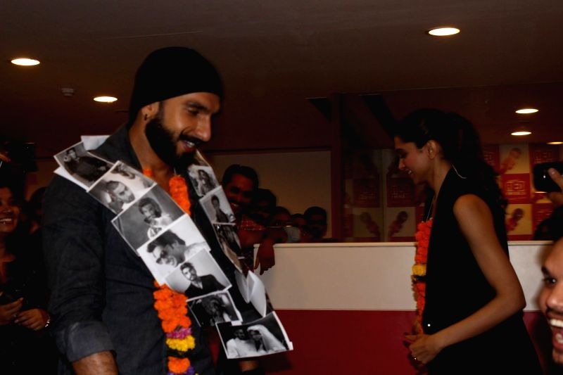Actors Ranveer Singh and Deepika Padukone during the promotion of film Bajirao Mastani at Red FM studio in Mumbai on Dec 9, 2015. - Ranveer Singh and Deepika Padukone