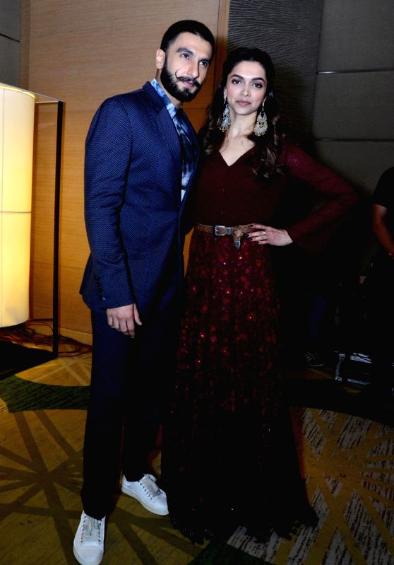 "Actors Ranveer Singh and Deepika Padukone during a programme organised to promote their upcoming film ""Bajirao Mastani"" in Amritsar, on Dec 11, 2015. - Ranveer Singh and Deepika Padukone"