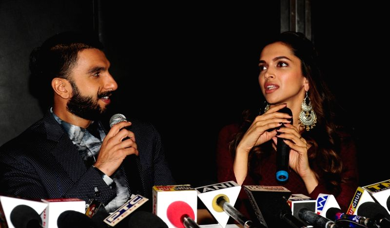 "Actors Ranveer Singh and Deepika Padukone during a programme organised to promote their upcoming film ""Bajirao Mastani"" in Amritsar, on Dec 11, 2015. - Ranveer Singh and Deepika Padukone"