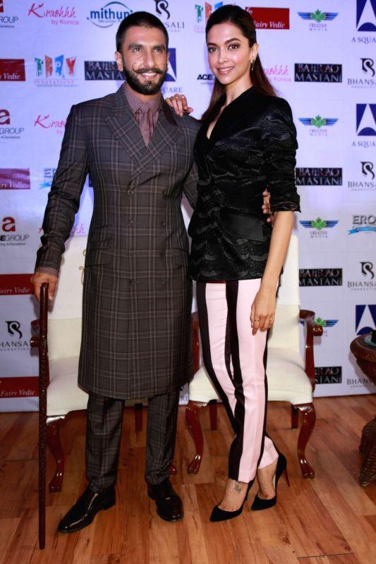 "Actors Ranveer Singh and Deepika Padukone during a programme organised to promote their upcoming film ""Bajirao Mastani"" in New Delhi, on Dec 12, 2015. - Ranveer Singh and Deepika Padukone"