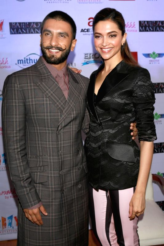 "Actors Ranveer Singh and Deepika Padukone during a programme organised to promote their upcoming film ""Bajirao Mastani"" in New Delhi, on Dec 12, 2015. - Ranveer Singh and Deepika Padukone"