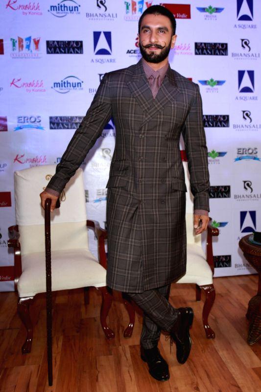 """Actors Ranveer Singh during a programme organised to promote his upcoming film """"Bajirao Mastani"""" in New Delhi, on Dec 12, 2015. - Ranveer Singh"""