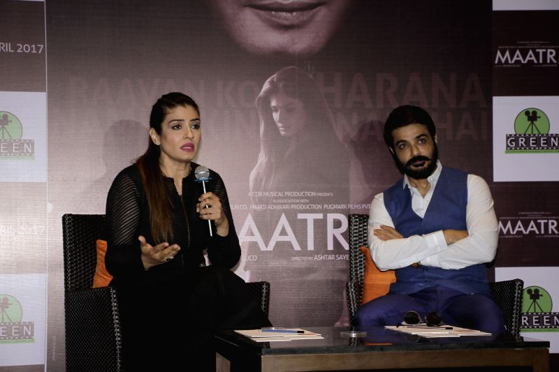 "Actors Raveena Tandon and Prosenjit Chatterjee during promotion upcoming film ""Maatr"" in Kolkata, on April 21, 2017. - Raveena Tandon and Prosenjit Chatterjee"