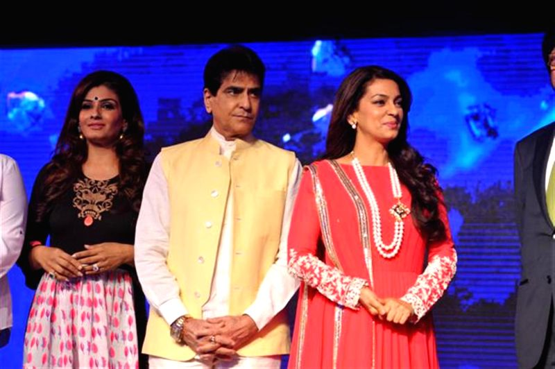 Actors Raveena Tandon, Jeetendra and Juhi Chawla during the launch of Multi Screen Media (MSM) new Hindi general entertainment channel Sony Pal in Mumbai on August 7, 2014. - Raveena Tandon, Jeetendra and Juhi Chawla