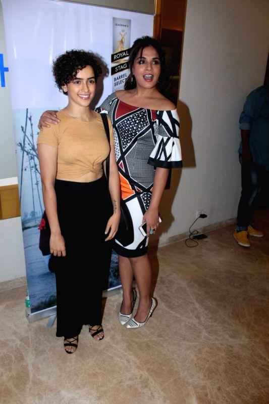 Actors Richa Chadha and Sanya Malhotra during the screening of Punjabi short film Khoon Aali Chithi in Mumbai on April 24, 2017. - Richa Chadha and Sanya Malhotra