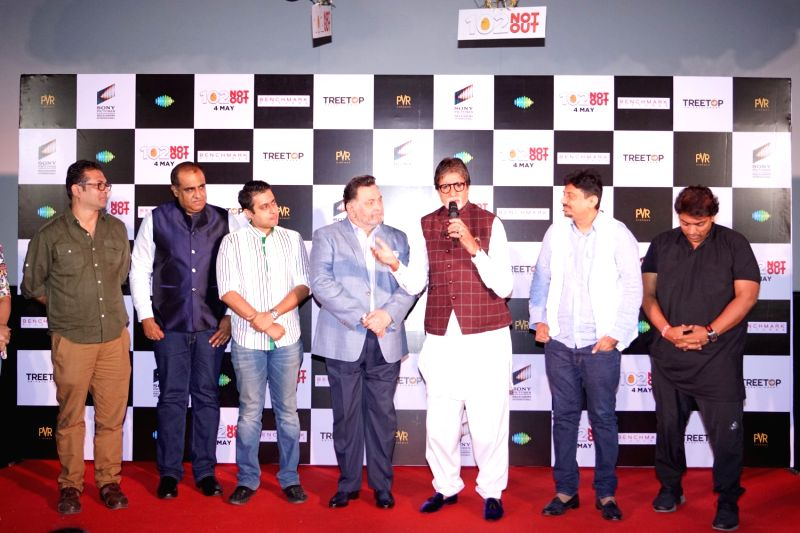 "Actors Rishi Kapoor, Amitabh Bachchan, Jimit Trivedi, director Umesh Shukla and choreographer Ganesh Acharya at the song launch of their upcoming film ""102 Not Out"" in Mumbai on ... - Umesh Shukla, Rishi Kapoor, Amitabh Bachchan and Jimit Trivedi"