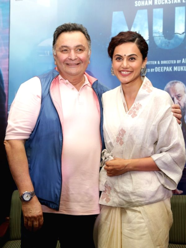"Actors Rishi Kapoor and Taapsee Pannu at the promotion of their upcoming film ""Mulk"" in New Delhi on July 23, 2018. - Rishi Kapoor and Taapsee Pannu"