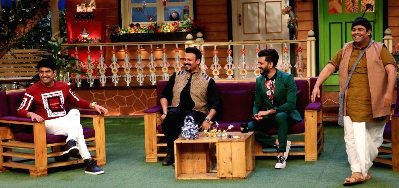 Actors Riteish Deshmukh , Vivek Oberoi ,comedian Kiku Sharda and Kapil Sharma during the promotion of film Bank Chor on the sets of The Kapil Sharma Show in Mumbai, on June 8, 2017. - Riteish Deshmukh and Kapil Sharma