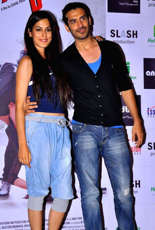 Actors Saahil Prem and Amrit Maghera during a press conference to promote their upcoming film ``Mad About Dance`` in Jaipur on Aug 16, 2014. - Saahil Prem and Amrit Maghera