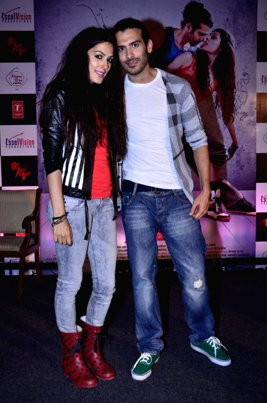 Actors Saahil Prem and Amrit Maghera during the unveiling of the application the Mad Wall of Dreams created for the upcoming film Mad About Dance in Mumbai, on August 8, 2014. The application is ... - Saahil Prem and Amrit Maghera