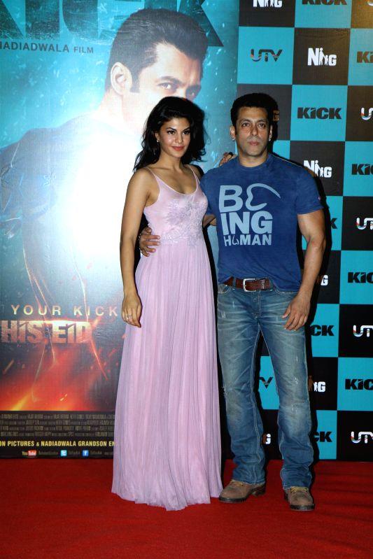 Actors Salman Khan and Jacqueline Fernandez during the launch of song Jumme Ki Raat from their upcoming film Kick in Mumbai on June 20, 2014. - Salman Khan and Jacqueline Fernandez