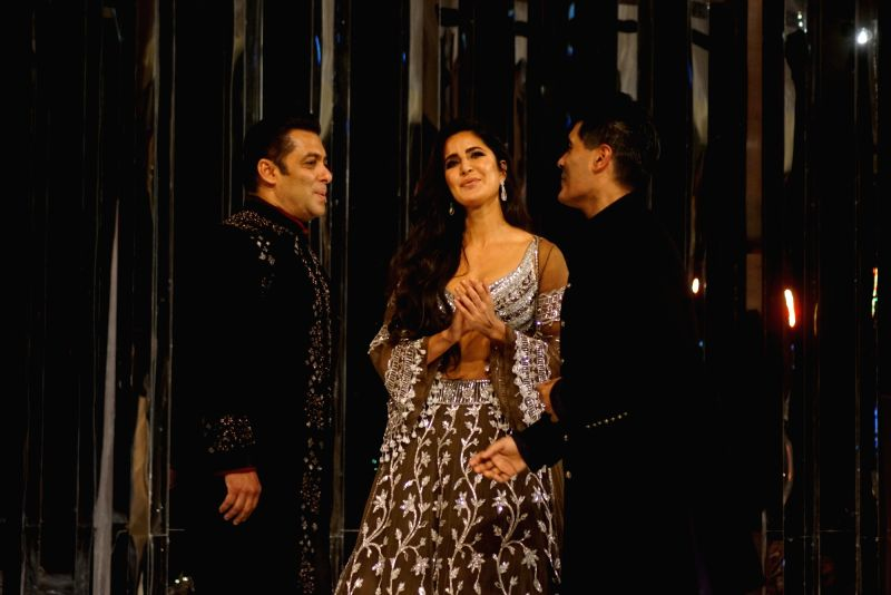 Actors Salman Khan and Katrina Kaif walk on the ramp as show-stoppers for Fashion designer Manish Malhotra's Haute Couture 2018 show at JW Marriot in Mumbai on Aug 1, 2018. - Salman Khan, Katrina Kaif and Manish Malhotra