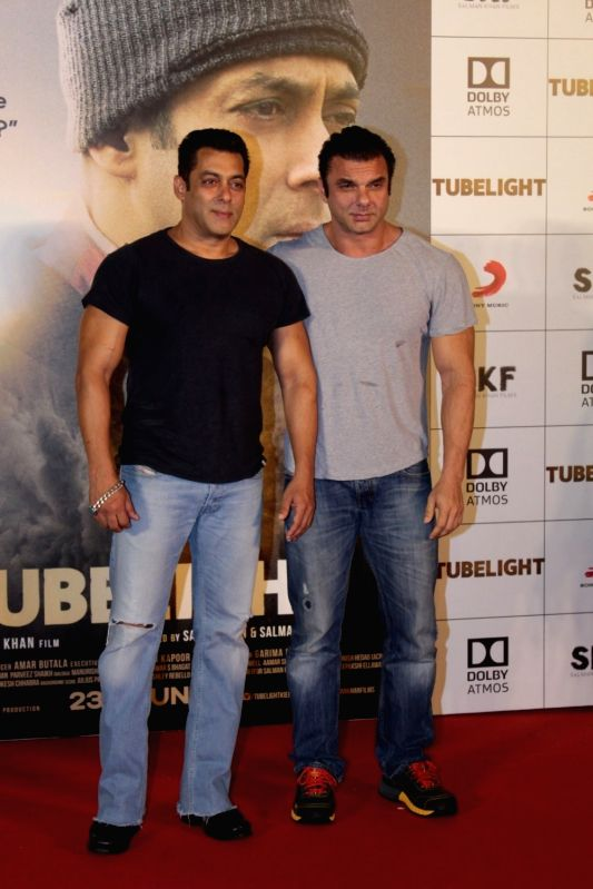 Actors Salman Khan and Sohail Khan during the trailer launch of film Tubelight in Mumbai, on May 25, 2017. - Salman Khan and Sohail Khan