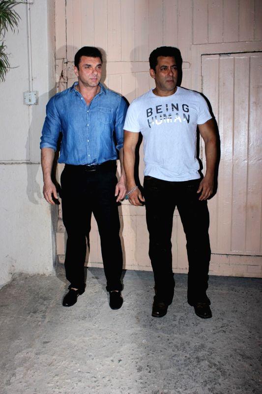 "Actors Salman Khan and Sohail Khan during the promotion of film ""Tubelight"" at Mehboob Studio, in Mumbai on June 13, 2017. - Salman Khan and Sohail Khan"