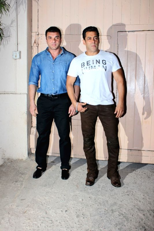 "Actors Salman Khan and Sohail Khan during the promotion of film ""Tubelight"" at Mehboob Studio, in Mumbai on June 13, 2017. - Salman Khan and Sohail Khan"