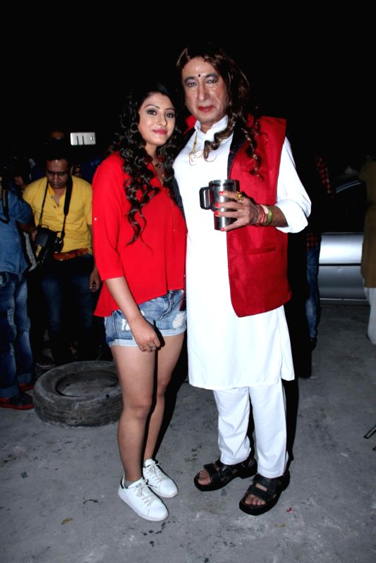 Actors Sanchita Banerjee and Shakti Kapoor during the on location shoot of upcoming film Rakdhaar, in Mumbai, on July 29, 2016. - Sanchita Banerjee and Shakti Kapoor