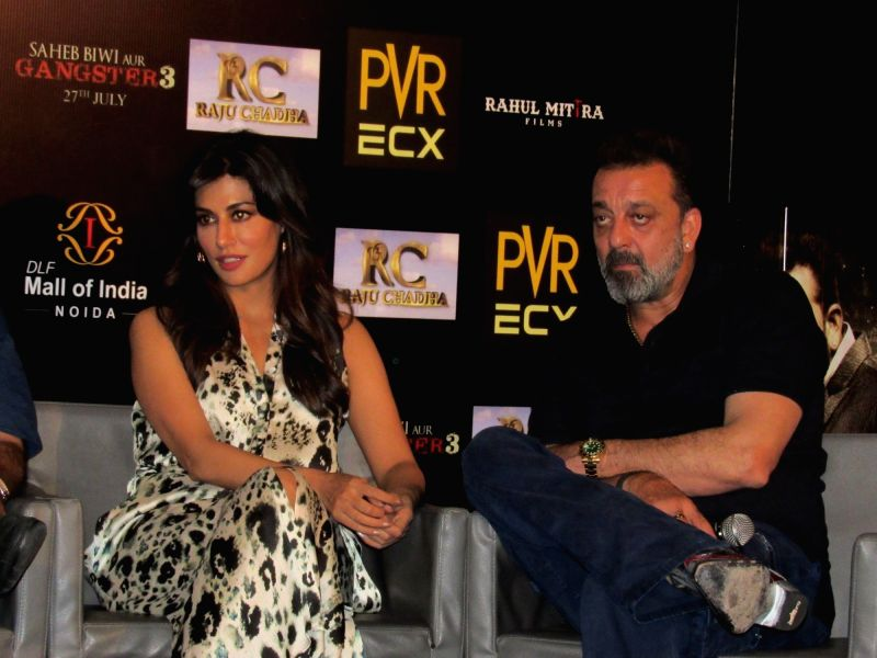 "Actors Sanjay Dutt and Chitrangada Singh during the promotion of their upcoming film ""Saheb Biwi Aur Gangster 3"" in Noida on July 25, 2018. - Sanjay Dutt and Chitrangada Singh"