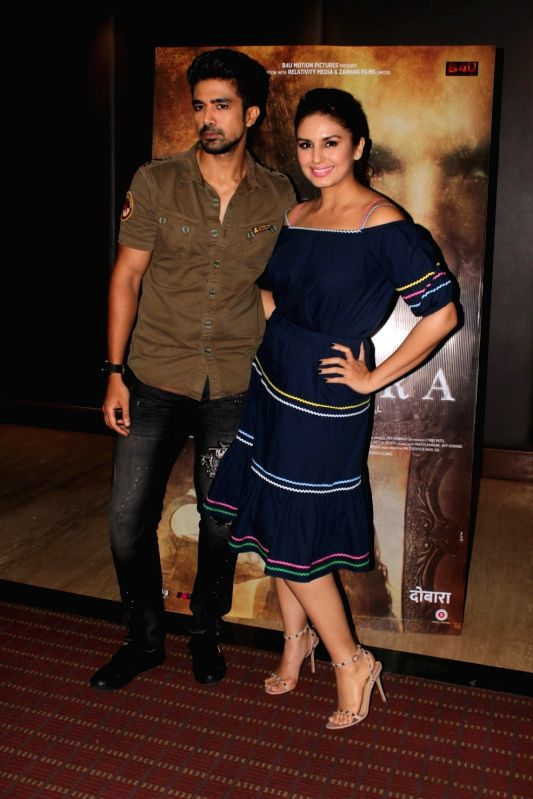 "Actors Saqib Saleem and Huma Qureshi during an interview for film ""Dobaara""  in Mumbai on May 11, 2017. - Saqib Saleem and Huma Qureshi"